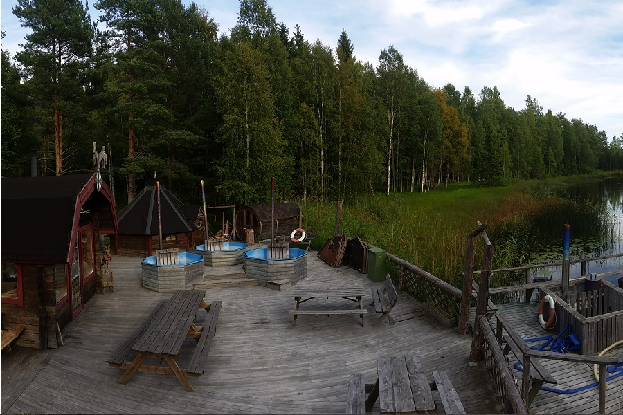 Mainbuilding, relax area. Hot tubs and sauna