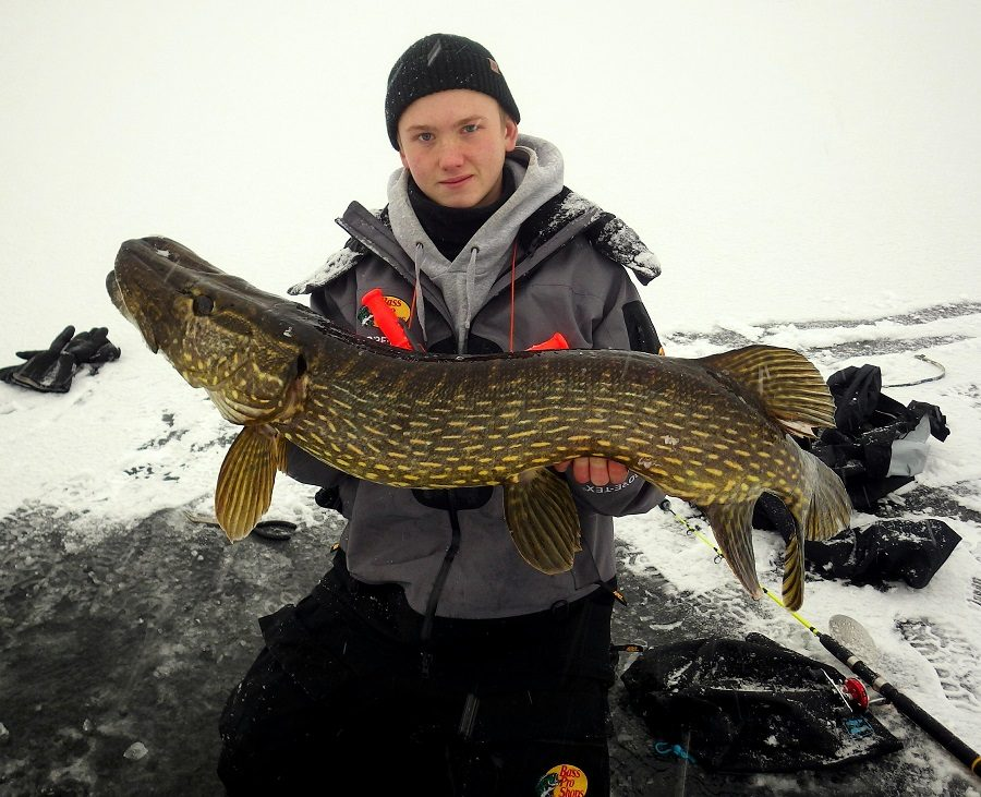 Pike 114cm caught on ice