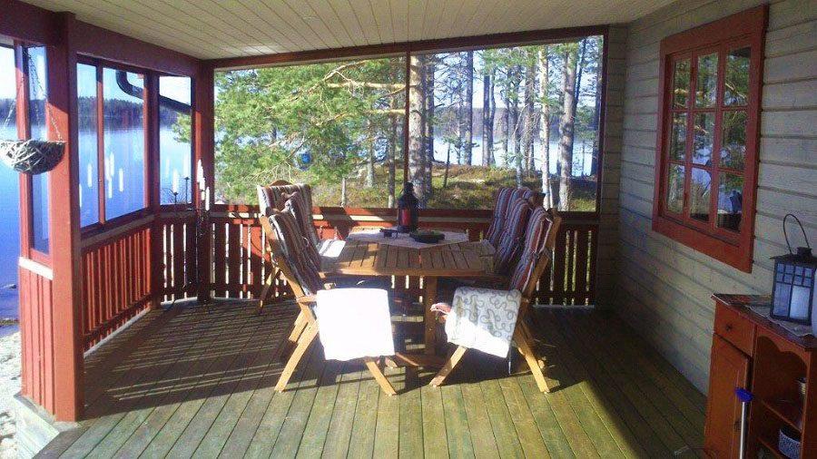 The veranda. The lake storsjön in the background.