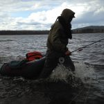 Fims guide Benny on his way out to the spot flyfishing for pike